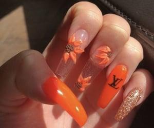glitter, LV, and orange image