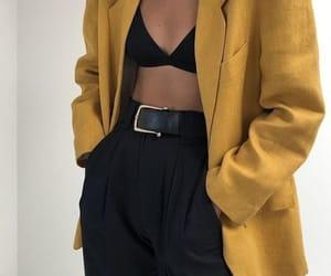 black pants, fashion, and yellow coat image