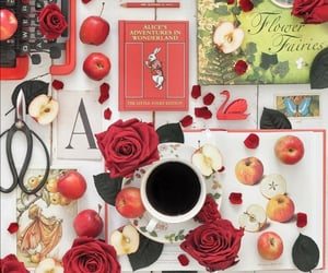apples, cup of tea, and book image