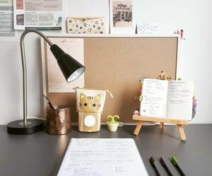cat, desk, and kawaii image
