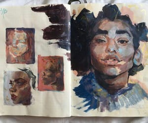 sketchbook, girl, and Oilpainting image