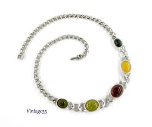 Scarab Link Necklace Silver tone Vintage 1970 image 0