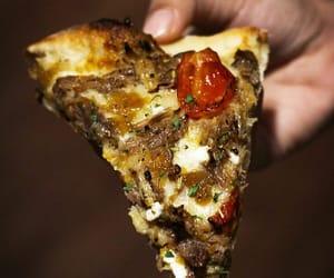 roast tomato and lamb pizza image