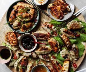 dumpling, asian food, and potsticker image