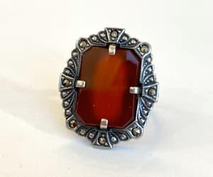 Vintage Carnelian Sterling Silver Ring 1920s Art Deco image 0