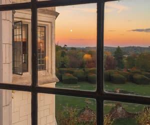 sunset, window, and nature image
