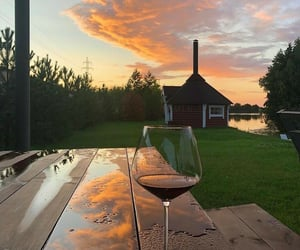 nature, sunset, and drink image