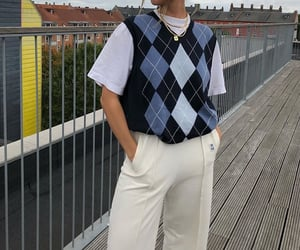 white tee shirt, everyday look, and blue sweater vest image