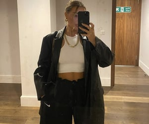 everyday look, white crop top, and mirror selfie image