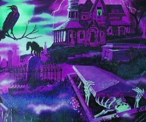 Halloween, purple, and skeleton image