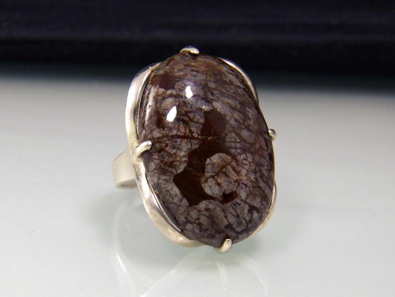 etsy, sterling silver ring, and big stone ring image