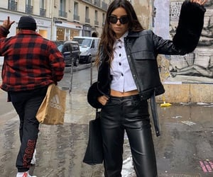 button up shirt, white blouse, and crop leather jacket image