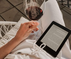 aesthetic, book, and red wine image
