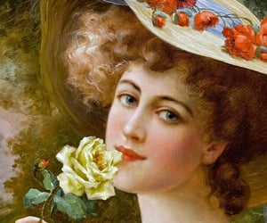 20th century, flowers, and lady image