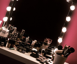 make up, mirror, and makeup image
