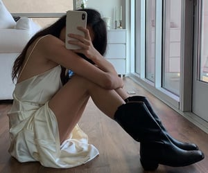 knee high boots, everyday look, and mirror selfie image