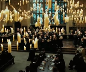 harry potter, hogwarts, and lights image
