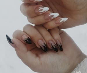 nails, fire, and black and white image