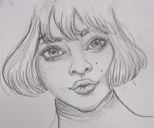 pencil drawing, female portrait, and sketchbook image
