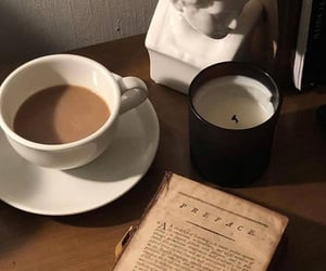 coffee, book, and candle image