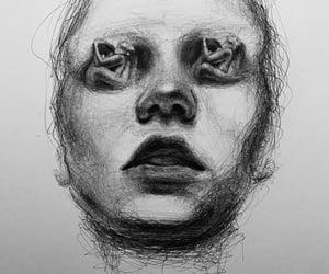 art, black and white, and hug image