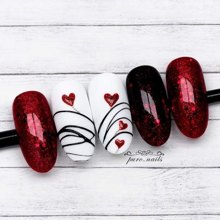 black, glitter, and hearts image