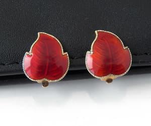 Red Enamal Leaf Clip Earrings Gilt Silver 925S Norwegian image 0