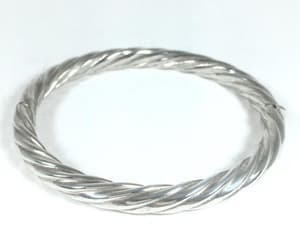 Oval Sterling Silver Hinged Bangle Vintage 1980s 1990s Signed image 0