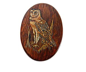 Wood Jewelry Box with Owl Decal Artisan Made Vintage image 0