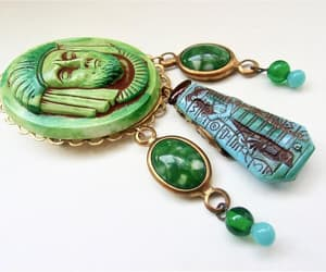 dangles, assemblage brooch, and green art glass image