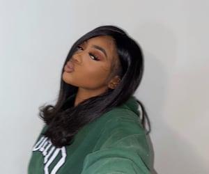 black woman, makeup, and baddie image