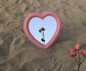 heart, mirror, and rose image