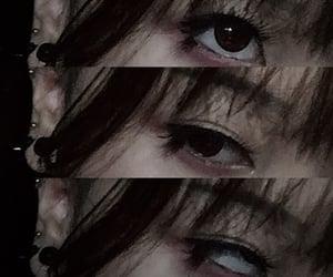 bangs, dark makeup, and emo image