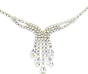 Dangle Rhinestone Choker Necklace Silver Tone Adjustable image 0