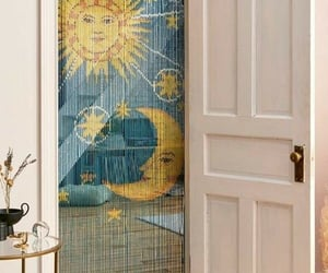 curtain, decor, and sun and moon image