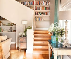 books, home, and stairs image
