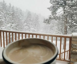 coffee, cozy, and snow image