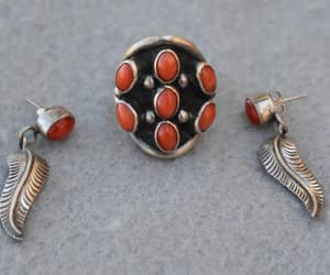 Sterling Silver and Coral Ring and Earrings Vintage Size 7 1/2 image 0