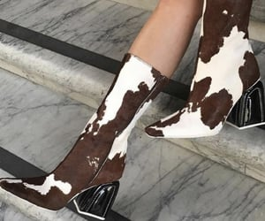 ankle boots, everyday look, and cow print image