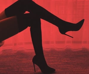 red, heels, and aesthetic image