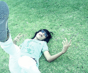 cute boy, grass, and hands image