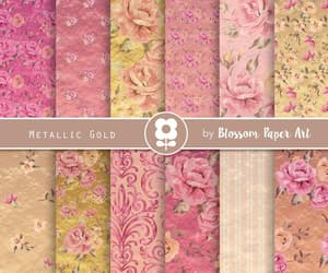 etsy, pink and gold, and digital paper floral image
