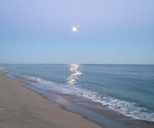 beach, blue, and moon image