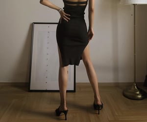 black heels, black summer dress, and fashion style mode image
