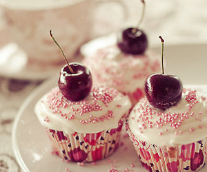 cupcake, pink, and cherry image