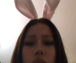 :p, bunny ears, and woman image