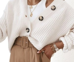 knit cardigan and casual tee image