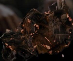 burning, draco malfoy, and harry potter image
