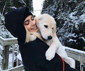 girl, dog, and winter image