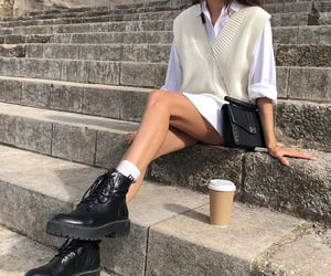 sweater vest, everyday look, and black platform boots image